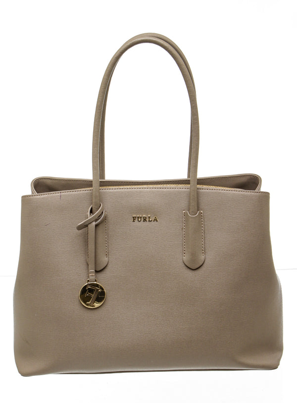Furla Gray Saffiano Leather 'Amina' Tote Bag