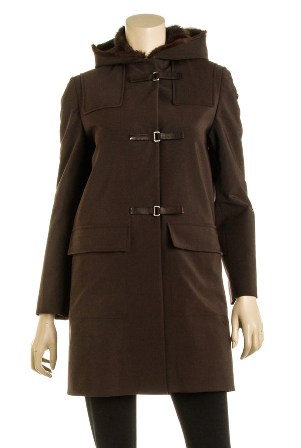 Prada Dark Brown Fur Lined Duffle Coat