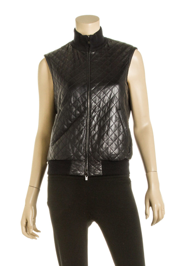 Loro Piana Black Quilted Leather Vest (Size 44)