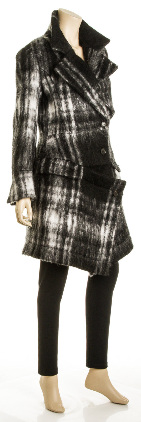 Christian Dior Black and White Plaid Mohair Oversize Coat (Size 38)