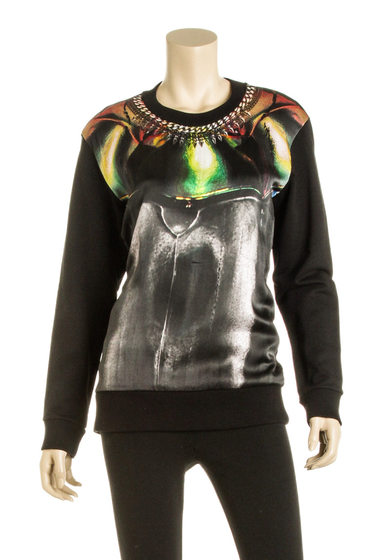 Barbara Bui Black and Multicolor Print Silk Sweater (Size XS)