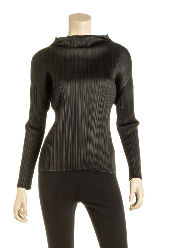 Issey Miyake Pleats Please Black Long Sleeve Pleated Blouse (Size S)