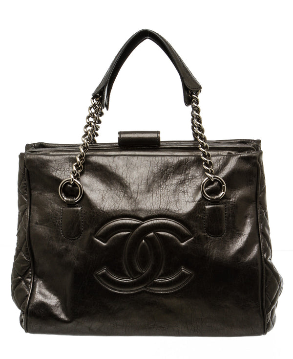 Chanel Black Aged Calfskin Shopper Tote Bag