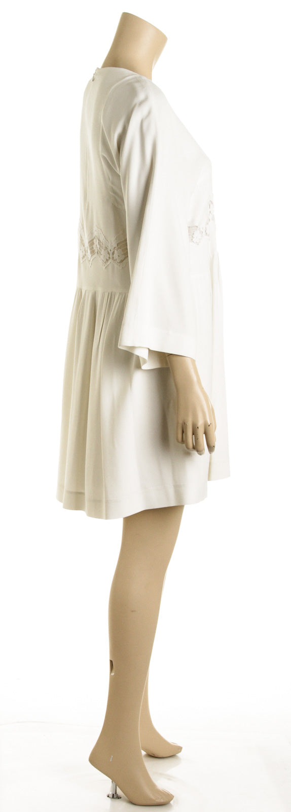 Chloe White Lace Cut-Out Long Sleeve Dress (Size 34)