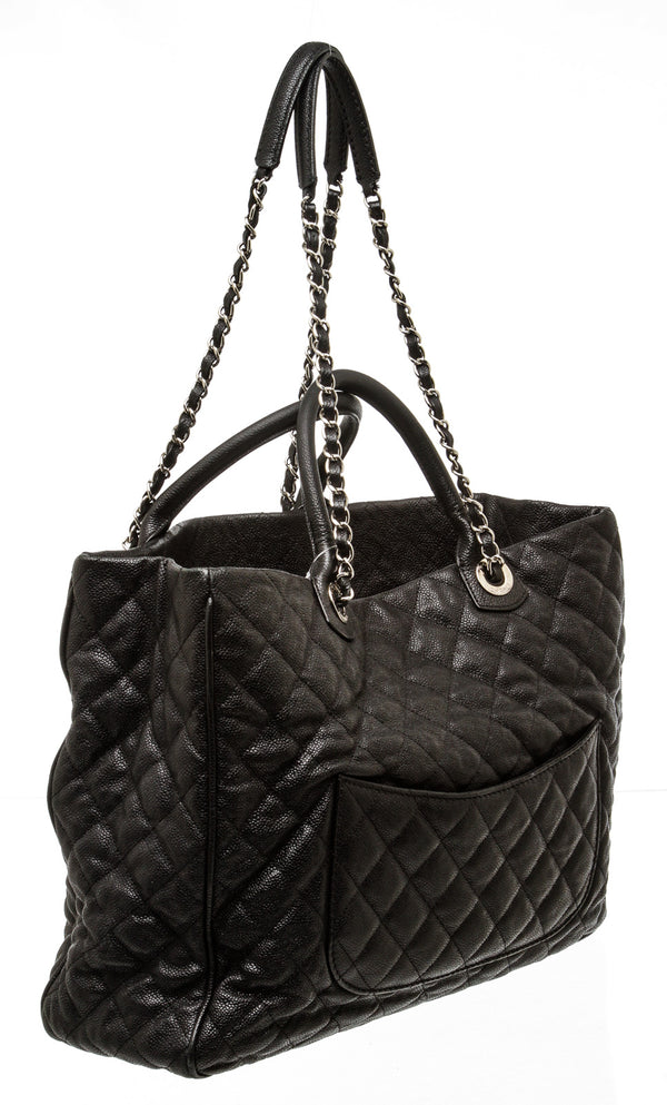 Chanel Black Caviar City Shopping Tote Bag