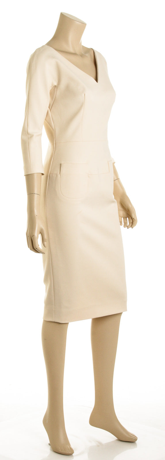 Victoria Beckham Cream Long Sleeve Pencil Dress (Size 10)