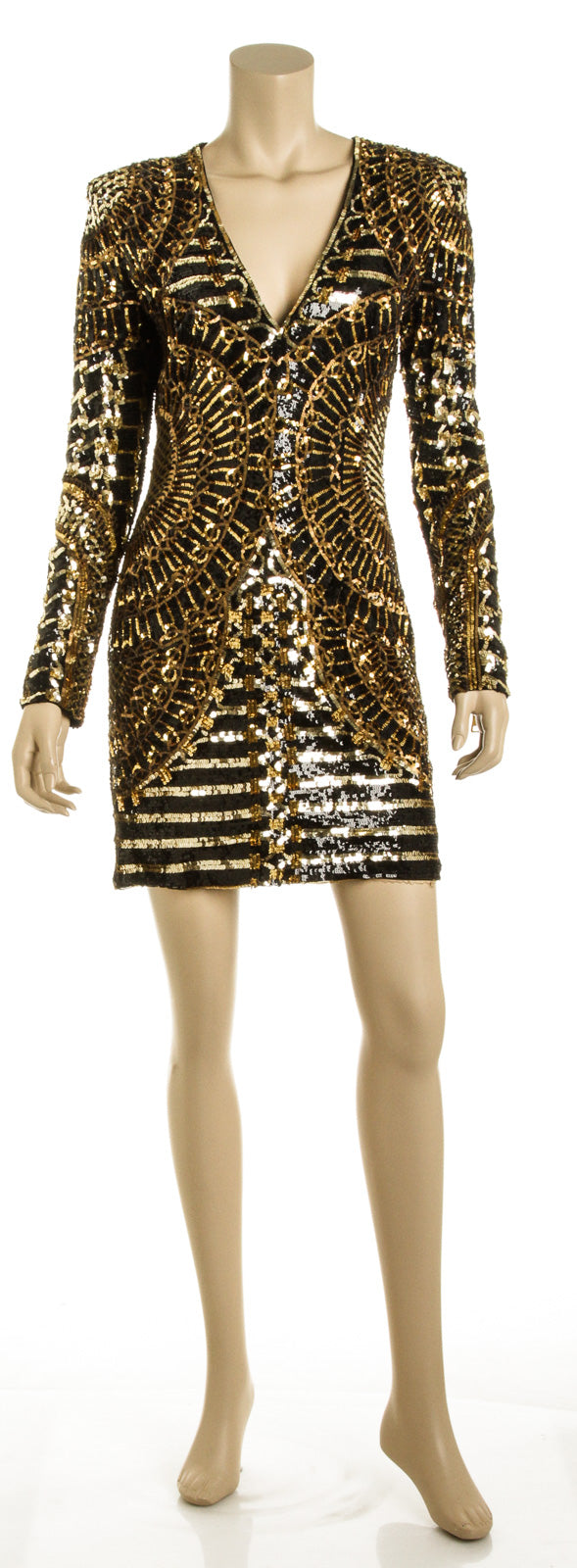 Balmain Black and Gold Sequin Dress (Size 38)