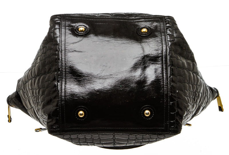 Yves Saint Laurent Black Croc Embossed Patent Downtown Tote Bag
