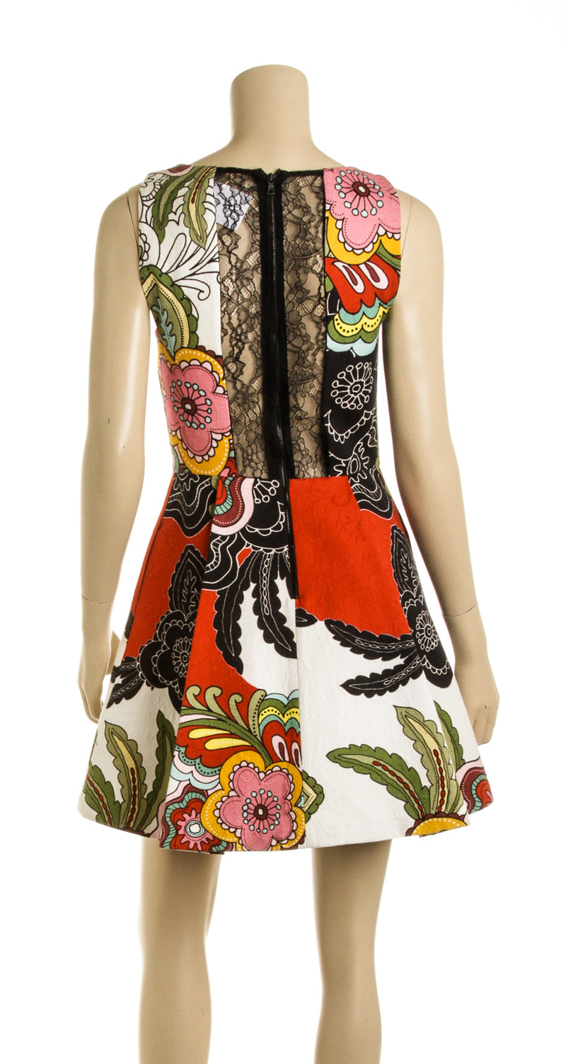 Alice + Olivia Multi Color Floral Print A-Line Dress (Size 4)