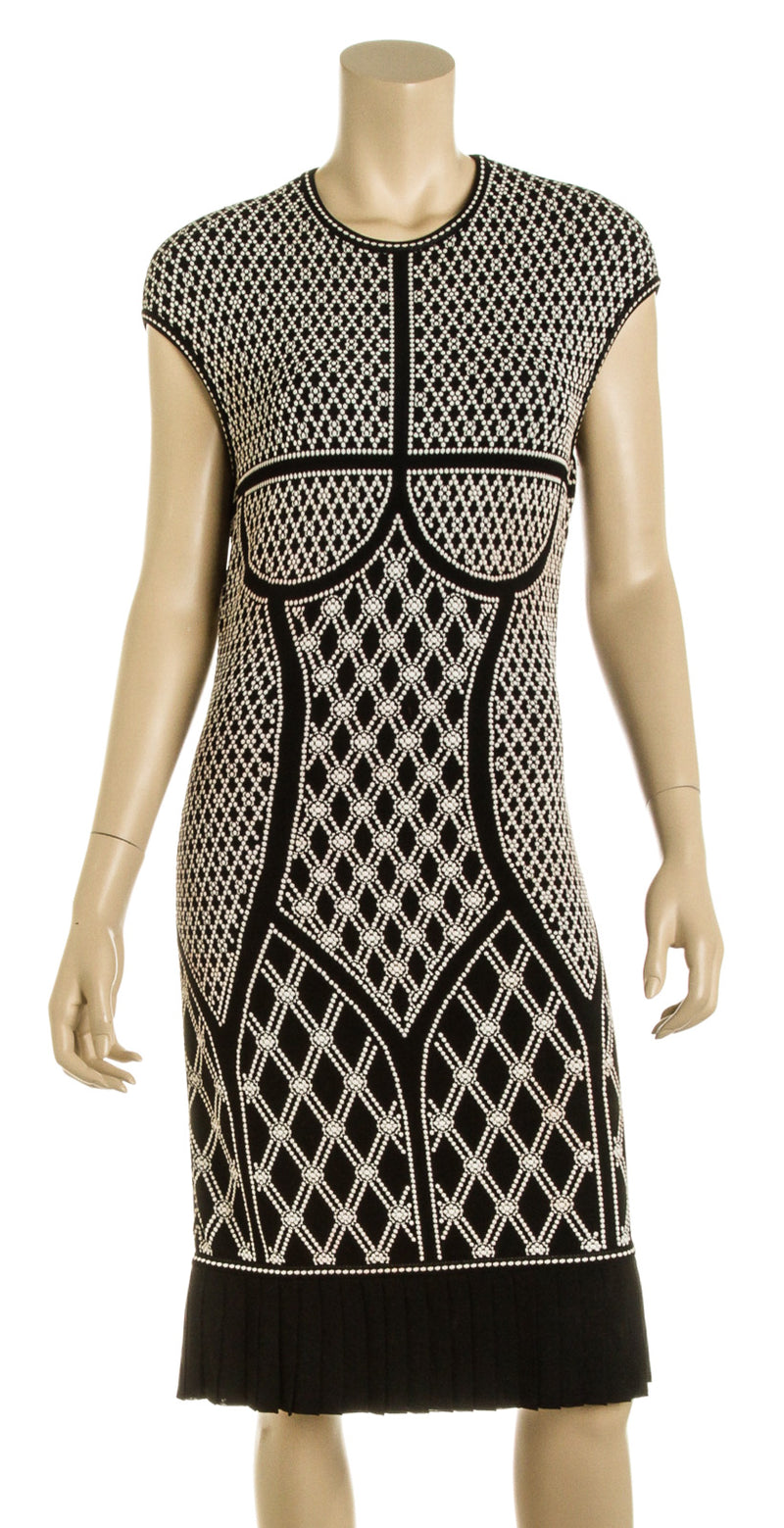 Alexander McQueen Black and White Knit Dress (Size M)