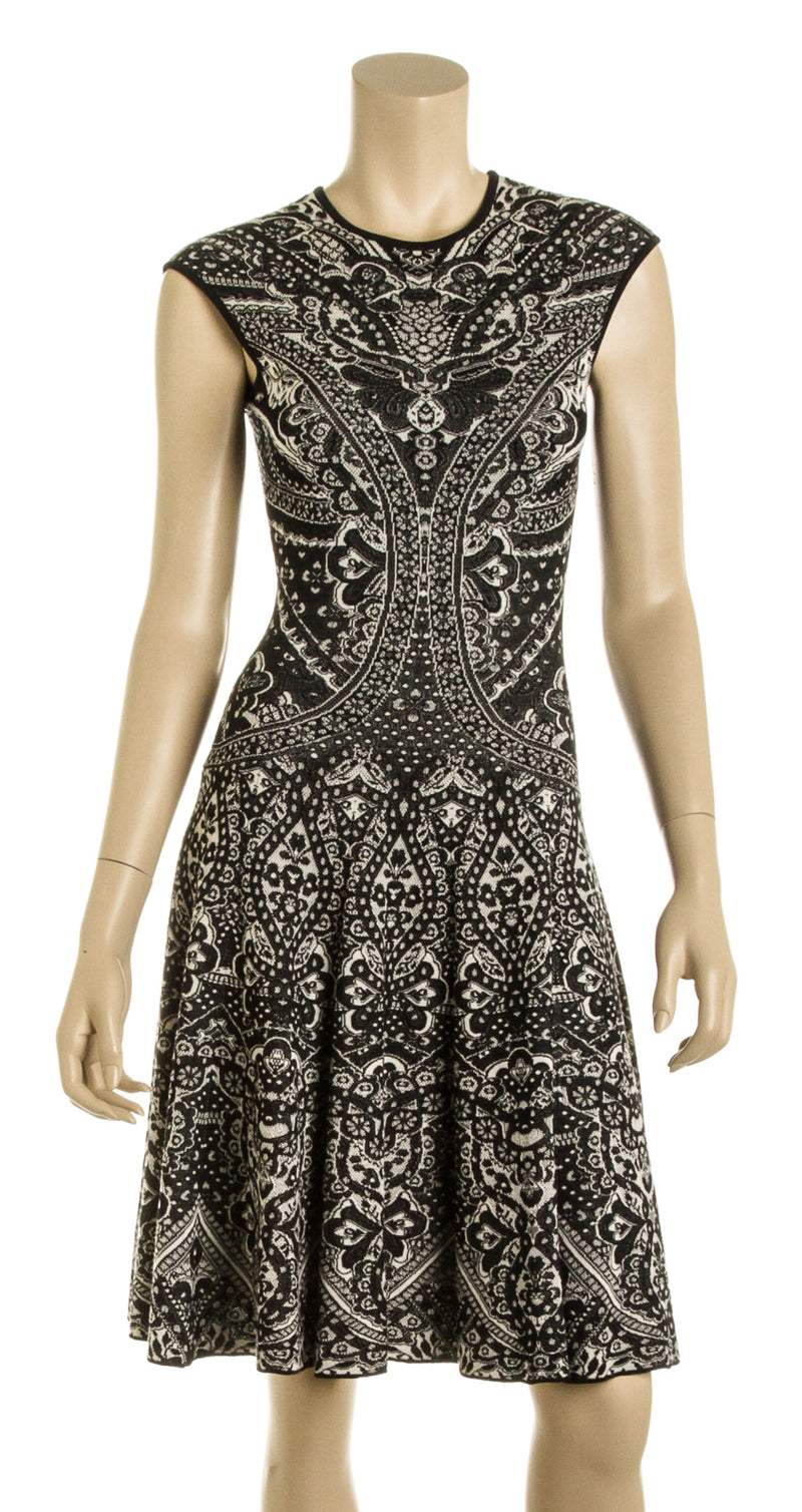 Alexander McQueen Black and Beige Knit Paisley Print Dress (Size XS)