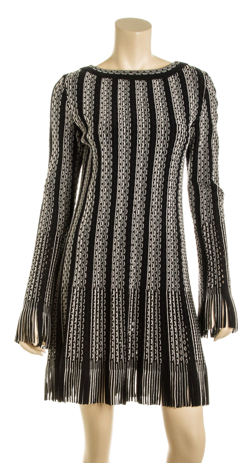 Alaia Black Blue and White Long Sleeve Fringe Knit Dress (Size 40)