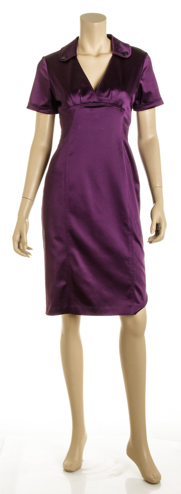 Burberry Royal Purple Silk Satin Short Sleeve Shirt Dress (Size 8)