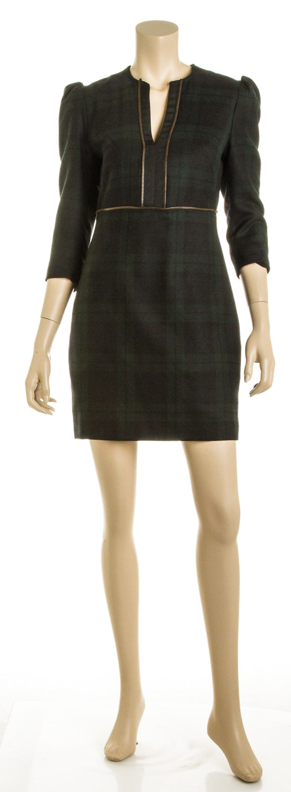 Alexander McQueen Green Blue and Black Tartan Wool Dress (Size 44)
