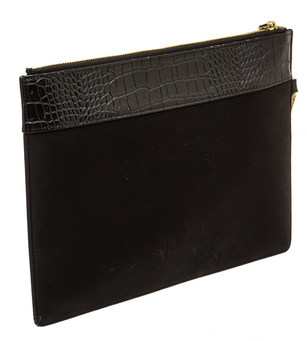 Philipp Plein Black Leather and Nylon Statement Clutch