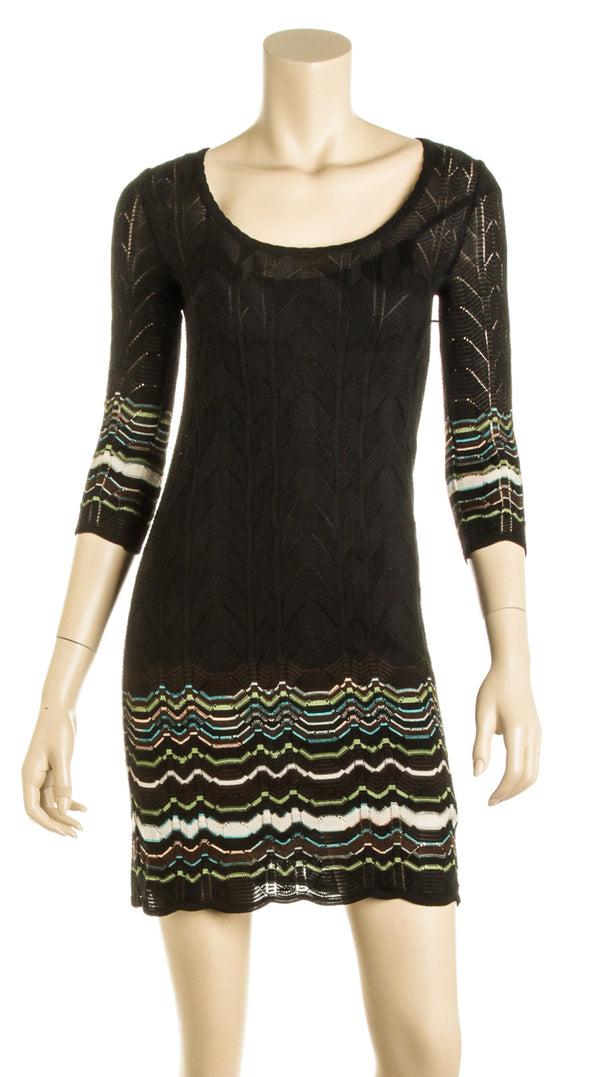 Missoni Black Blue and Green Crochet Dress with Slip (Size 2)