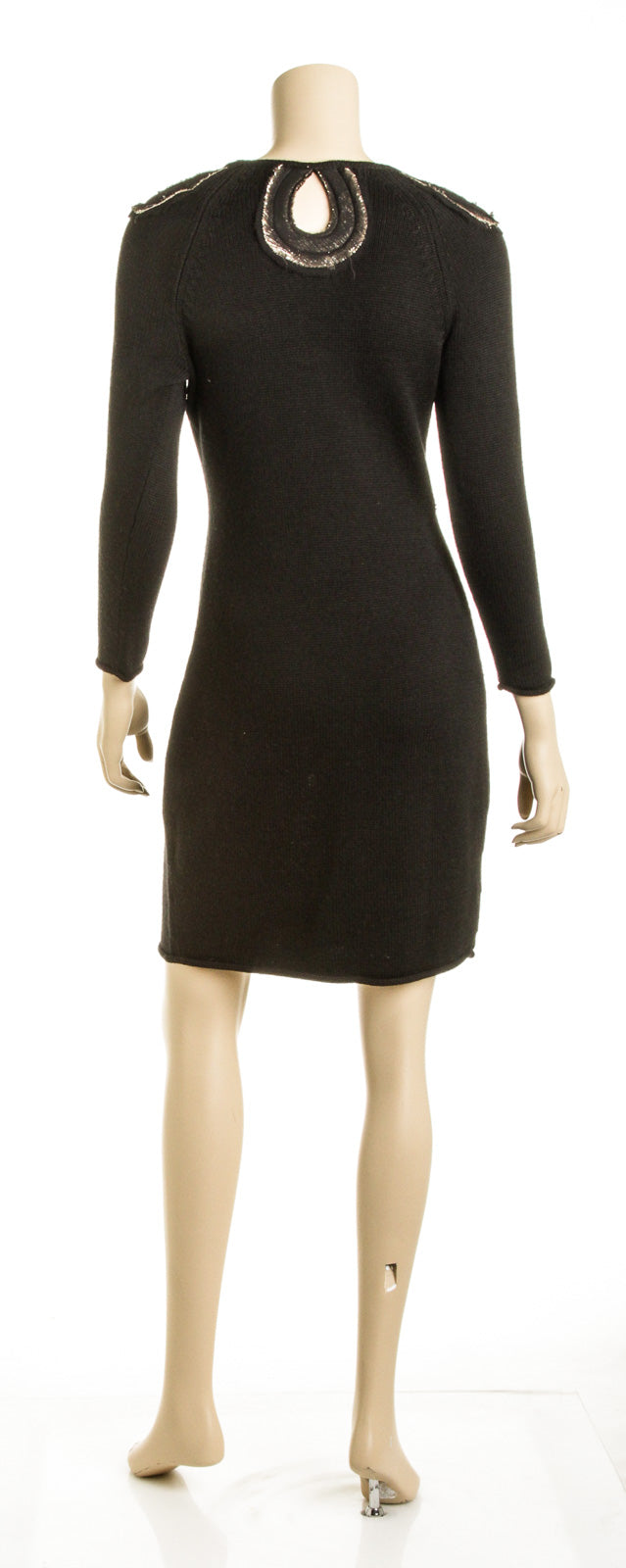 Ports 1961 Black Wool Long Sleeve Knit Dress (Size XXS)