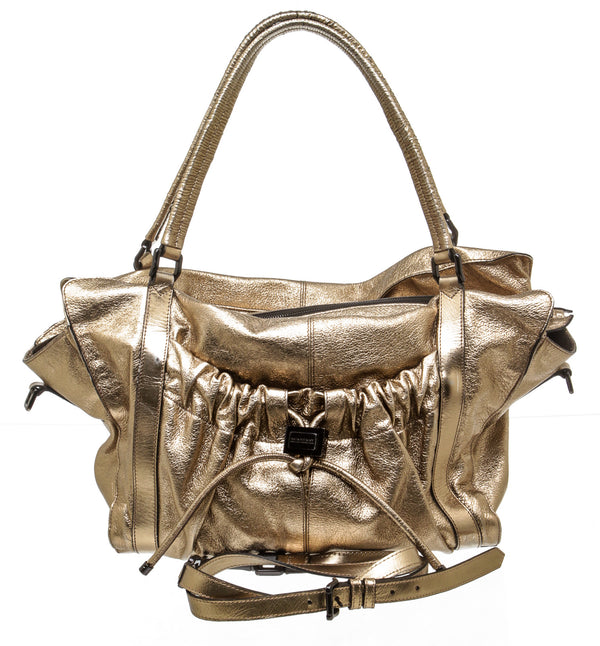 Burberry Metallic Gold Leather Satchel