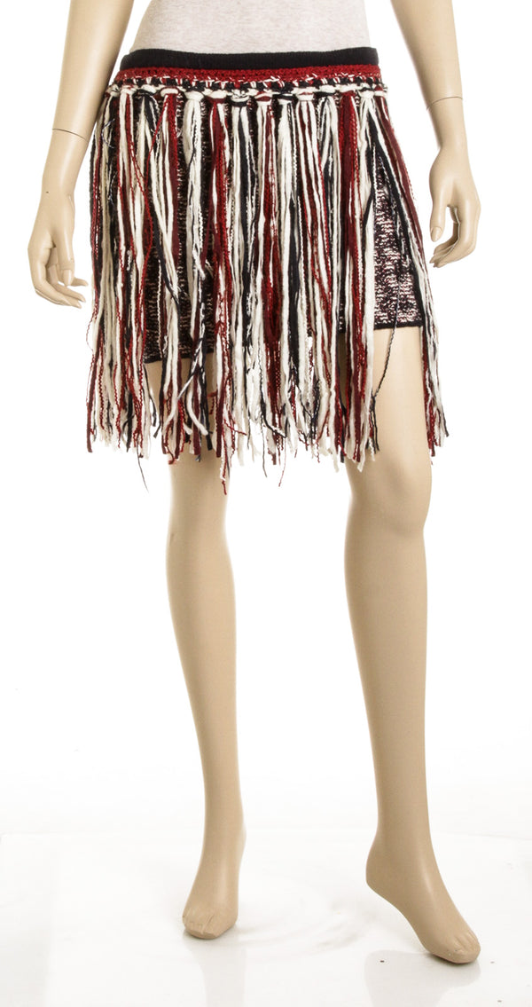 Chanel Red White and Blue Tweed Fringe Skirt (Size 36)