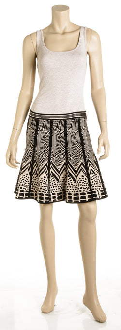 Herve Leger Black and Beige Print Flare Skirt (Size M)