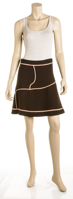 Marni Brown and Nude A-Line Skirt (Size 38)