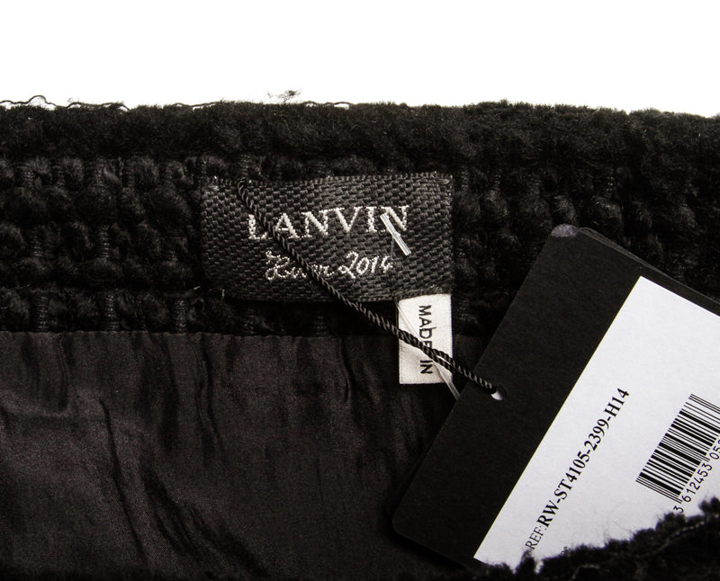Lanvin Black Wool Blend Fringe Skirt NWT (Size 36)
