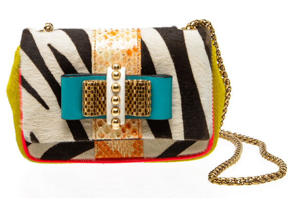 Christian Louboutin Multicolor Calf Hair Mini Sweet Charity Bag