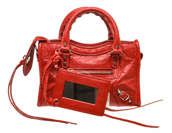 Balenciaga Red Lambskin Nano City Bag