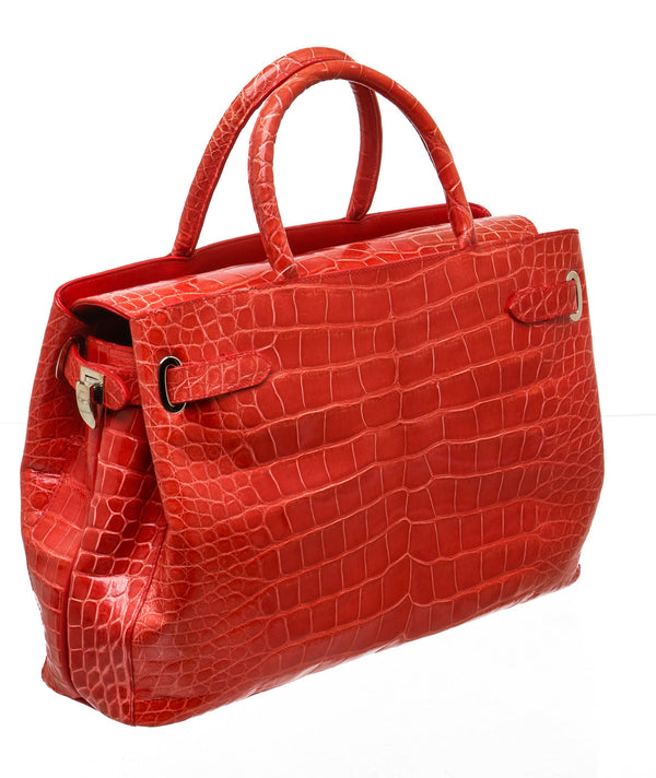 Asprey London Red Crocodile Handbag