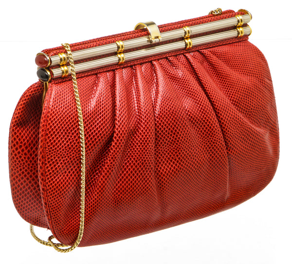 Judith Lieber Vintage Red Lizard 2Way Shoulder/Clutch Bag