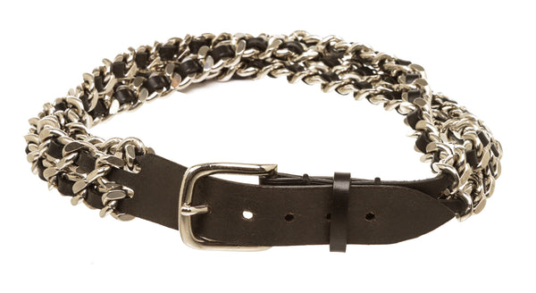 Balmain Black and Silver Triple Chain Belt