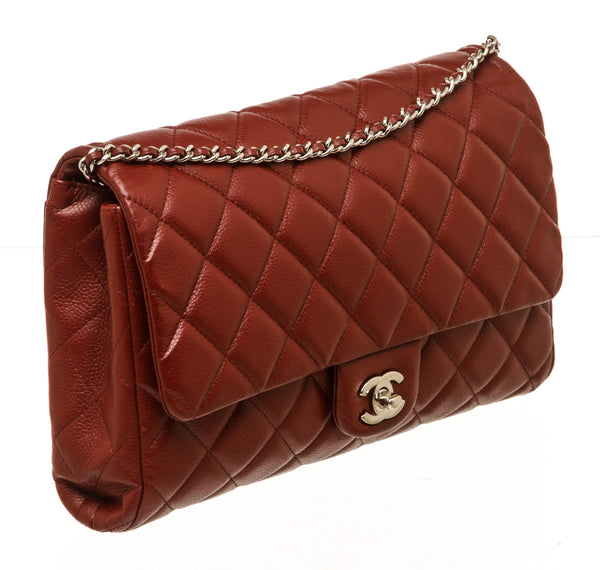Chanel Burgundy Caviar Leather Flap Silver Hardware