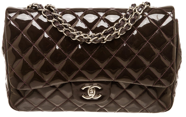 Chanel Dark Purple Patent Leather Single Flap Jumbo Silver Hardware