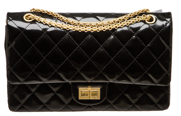 Chanel Black Patent Leather Reissue 2.55 Flap 227 Bag