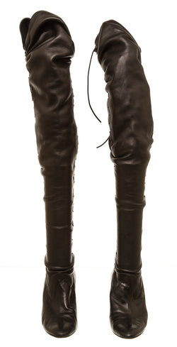 Manolo Blahnik Black Leather Gypsy Ruched Knee High Boots (39)