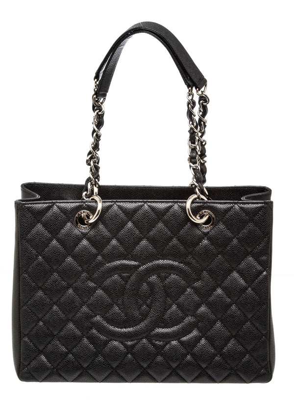 Chanel Black Caviar Grand Shopper Tote Bag GST