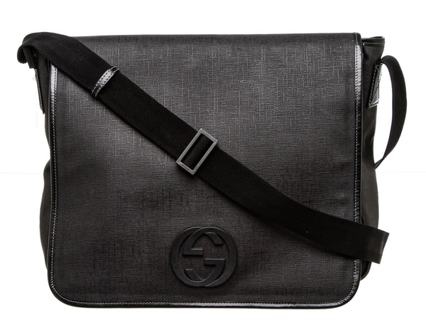 Gucci Black Coated Canvas GG Messenger Bag