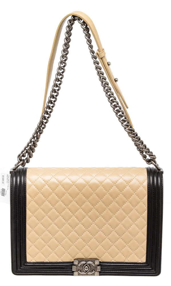 Chanel Beige and Black Lambskin Large Boy Bag