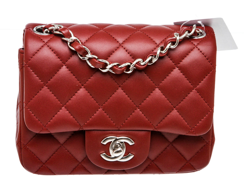 Chanel Burgundy Lambskin Mini Classic Flap Bag SHW