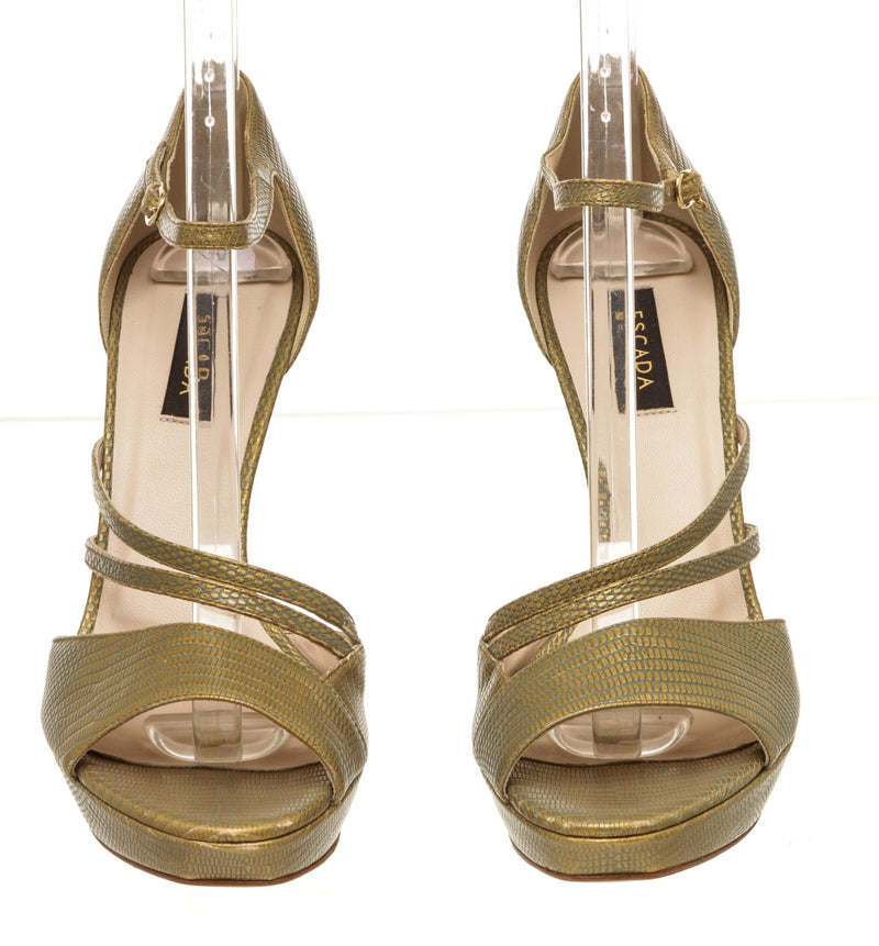 Escada Gold Tone Embossed Sandals (Size 39)