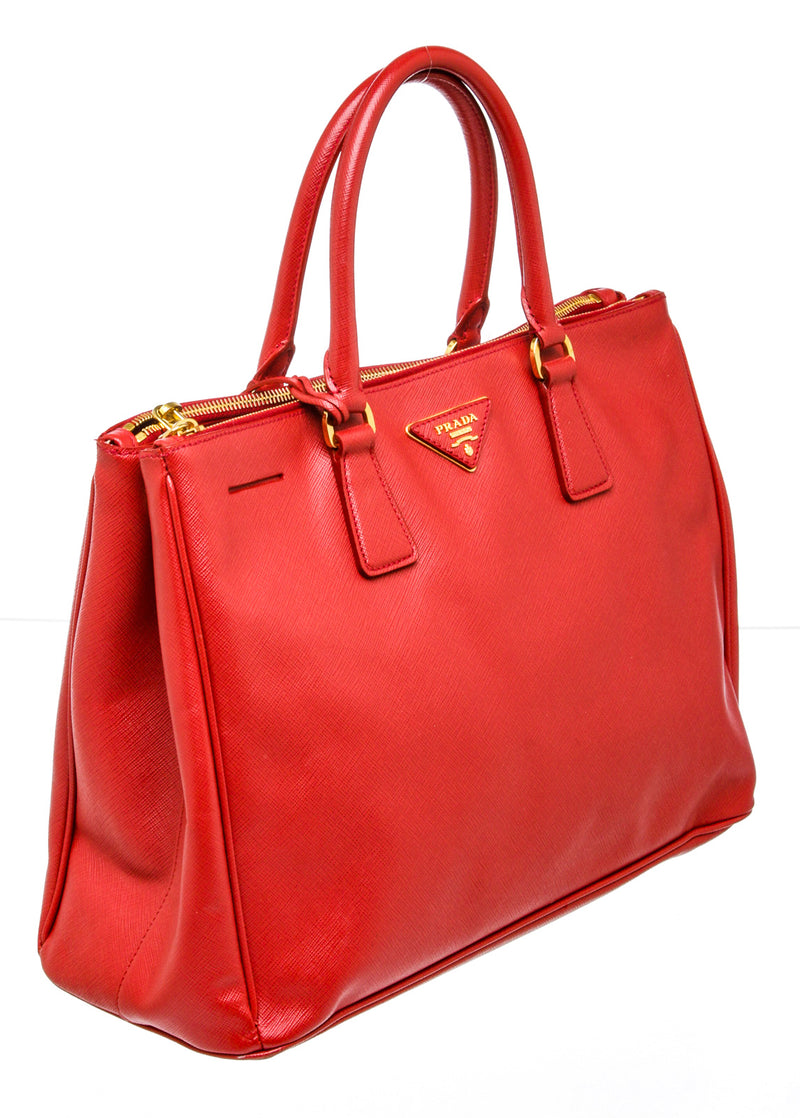 Prada Saffiano Lux Double Zip Executive Tote Bag
