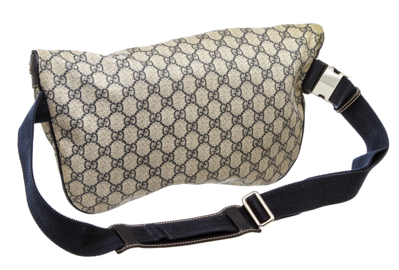 Gucci Navy Blue and Gray Supreme Monogram GG Large Waist Bag Fanny Pack