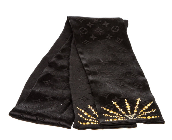 Louis Vuitton Black Silk Monogram Stud Neck Scarf
