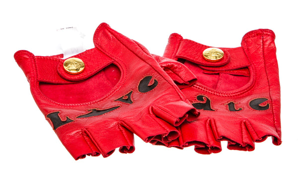 Vivienne Westwood Red Leather Love Hate Fingerless Gloves (Size M)