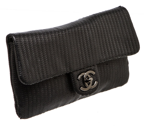 Chanel Black Perforated Front Flap Leather Wristlet