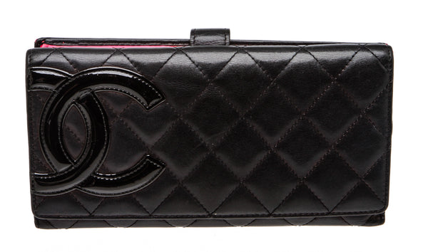 Chanel Black Lambskin Leather Cambon CC Quilted Wallet