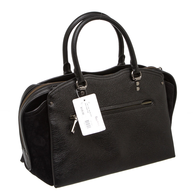 Coach Black Mixed Leather Drew Satchel