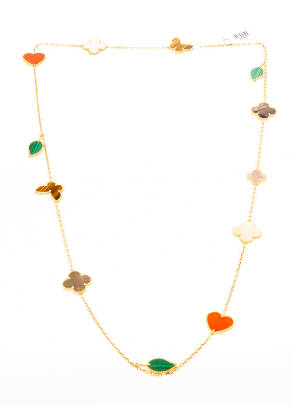 Van Cleef & Arpels Lucky 12 Gold Mulicolor Alhambra Necklace