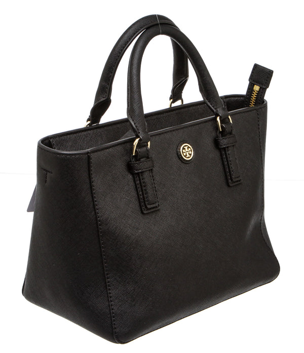 Tory Burch Black Saffiano Leather Satchel Handbag