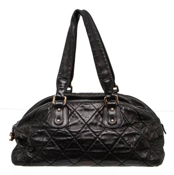 Chanel Black Quilted Lambskin Bowler Shoulder Bag
